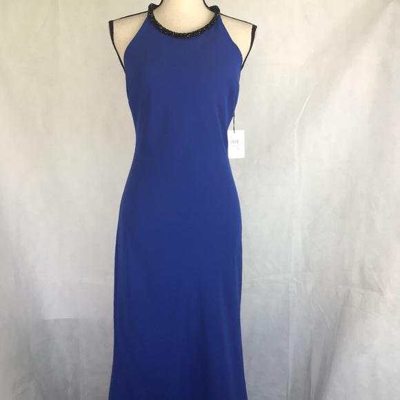 Calvin Klein Dresses Formal Embellished Crepe Halter Dress Poshmark